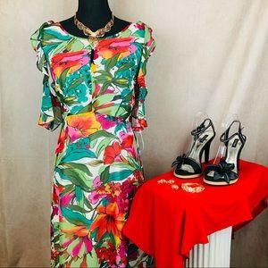 Nine West | Tropical Dress | Green | 14
